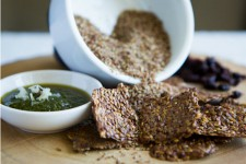 Flax Crackers with Mint Chutney