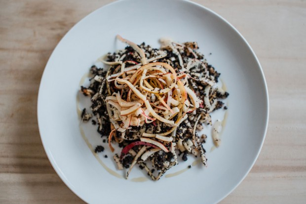 Raw noodles with poppy seeds