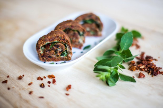 Pizza Rolls from Dried Tomatoes with Spinach